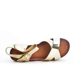 Golden sandal with big heel