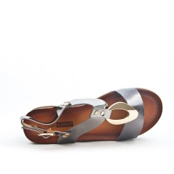Gray sandal with big heel