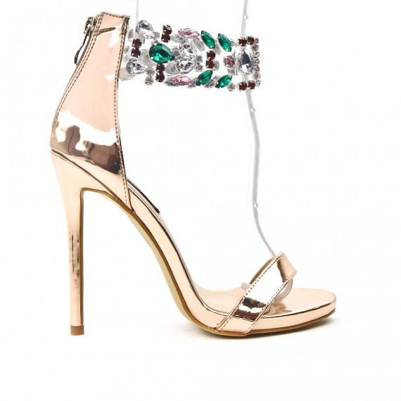 Sandale champagne à bride ornée de bijoux 3bc2bf9a63f6