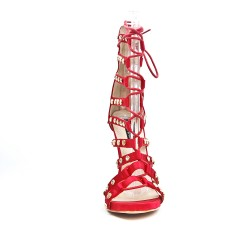 Red lace sandal with high heel