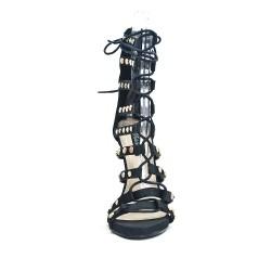 Sandalia con cordones negra y tacón alto
