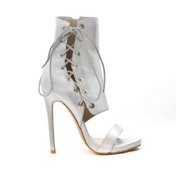 Gray sandal with lace on the side