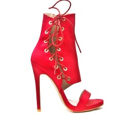 Red lace-up sandal on the side
