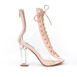 Pink sandal with transparent detail