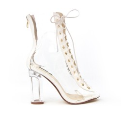 White sandal with transparent detail