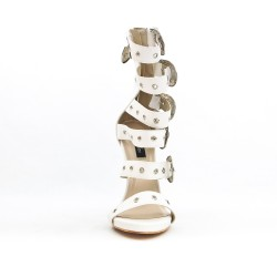 White sandal with buckled straps