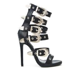 Sandale noire à brides bouclées