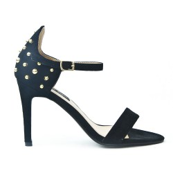 Black imitation sandal with pearl on the back