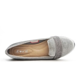 Gray loafer with rhinestones