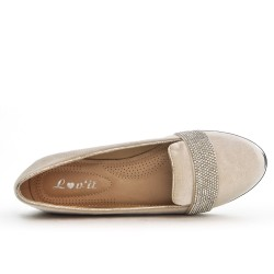 Beige moccasin with rhinestones