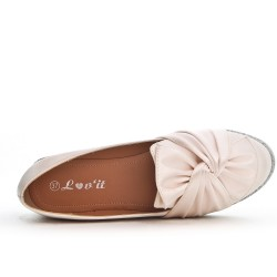 Beige loafer with bow