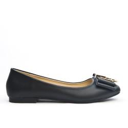 Black leatherette ballerina