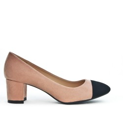 Pink pump with small square heel
