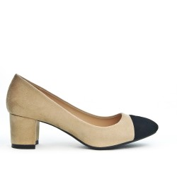 Beige pump with small square heel