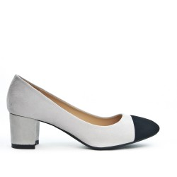 Gray pump with a small square heel