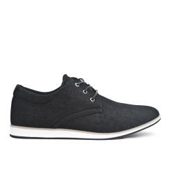 Chaussure confort en jean noire à lacet