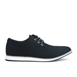 Zapato confort en ante negro con encaje