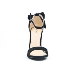 Black sandal with bow on the back