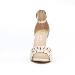 Beige faux suede sandal with heel