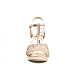 Bi-material champagne sandal with heel
