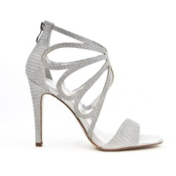 Silver sandal with heel