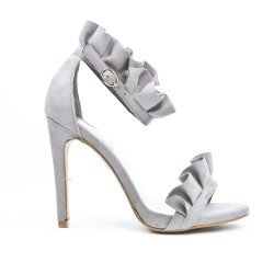 Gray faux suede sandal with ruffle