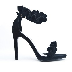 Black faux suede sandal with ruffle