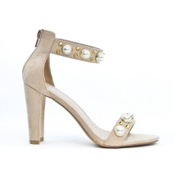 Beige faux suede sandal with pearl trim