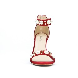 Red imitation suede sandal with pearl