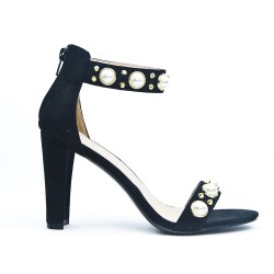Black imitation suede sandal with pearl trim