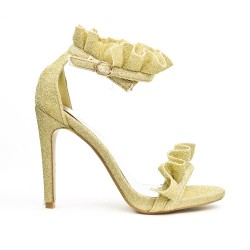 Golden sandal with ruffle