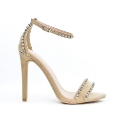 Beige faux suede sandal with rhinestones