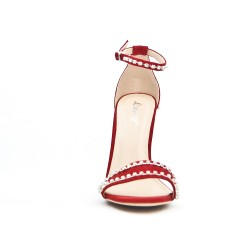 Red faux suede sandal with rhinestones