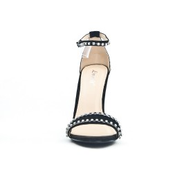 Black faux suede sandal with rhinestones
