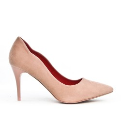 Pink suede faux leather pumps