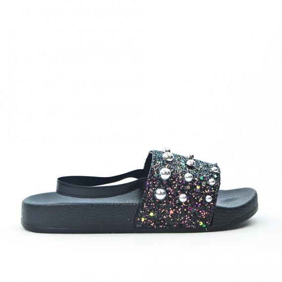 e67c91332 Sandalias de niña de perlas negras