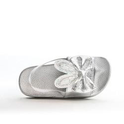 Sandale fille argent à motif lapin