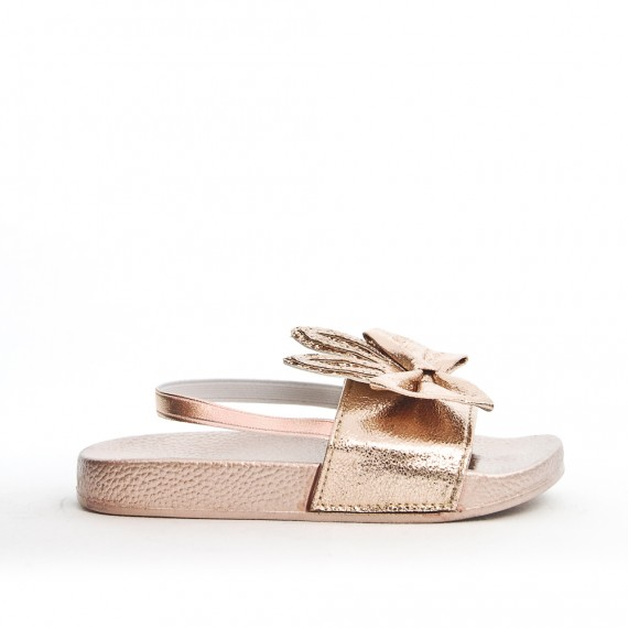 Champagne girl sandal with rabbit pattern
