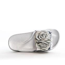 Sandale fille argent à fleur