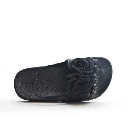 Sandale fille noire à fleur