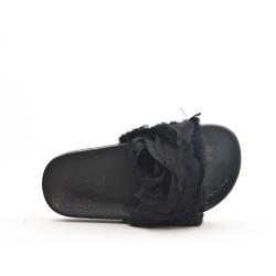 Claquette fille noire à fourrure