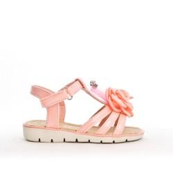 Sandalia niña rosa con flor
