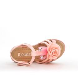 Sandale fille rose à fleur