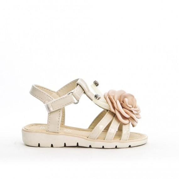 Sandal beige girl with flower