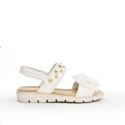 Sandalia chica blanca con lazo