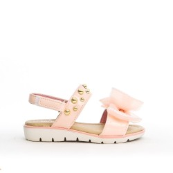 Pink girl sandal with bow