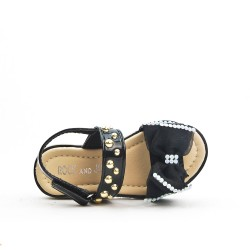Sandalia chica negra con lazo