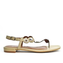 Beige sandal with pearl