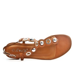 Camel sandal with pearl