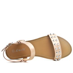 Champagne flat sandal with studs